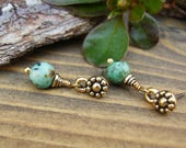 African Turquoise Earrings, Dainty Gold and Turquoise Earrings, Small Dangle Earrings, Gold Post Earrings, Turquoise Dangle Earrings
