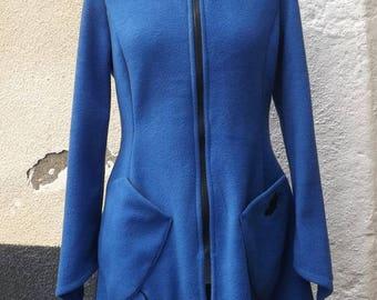 """""""Elwing"""" elven fairy jacket coat large Royal Blue polar hood Sanlivine"""