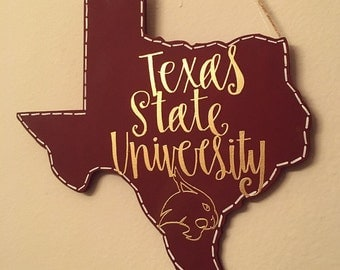 Texas State University | Wooden Hanging Calligraphy Sign | TXST Sign
