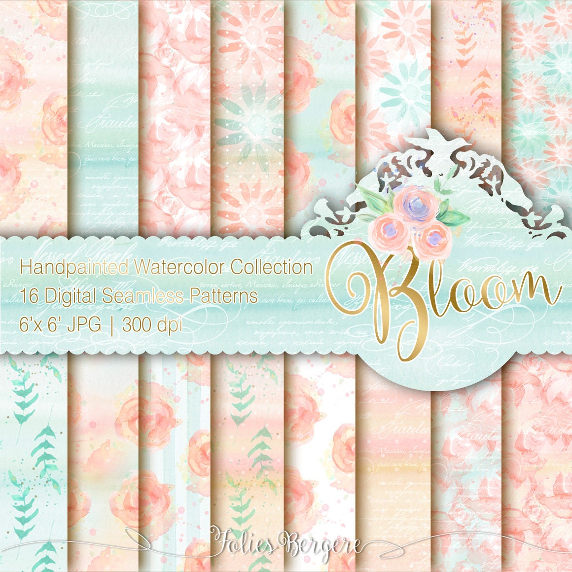 peach and mint digital paper pack watercolor flowers hand. Black Bedroom Furniture Sets. Home Design Ideas