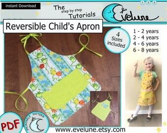Children's reversible apron pattern / 4 sizes / PDF / English pattern / kids apron pattern / child apron /cooking apron /Evelune