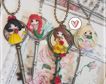Chibi Cute Disney Princess Cameo necklace Cameo Key Fimo Polymer Clay fimo Kawaii snow white Princess Ariel Doll tiny beautiful Rapunzel