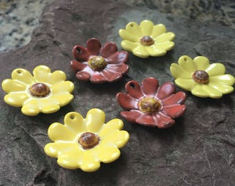 Clay flowers, ceramic flower charms, handmade charms, daisies, yellow flowers, red, porcelain flowers,destash,earrings