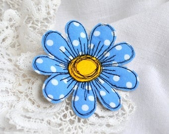 Blue chamomile brooch Polka dots fabric flower pin Textile art daisy brooch Single flower felt brooch Fabric jewelry Summer party outdoors