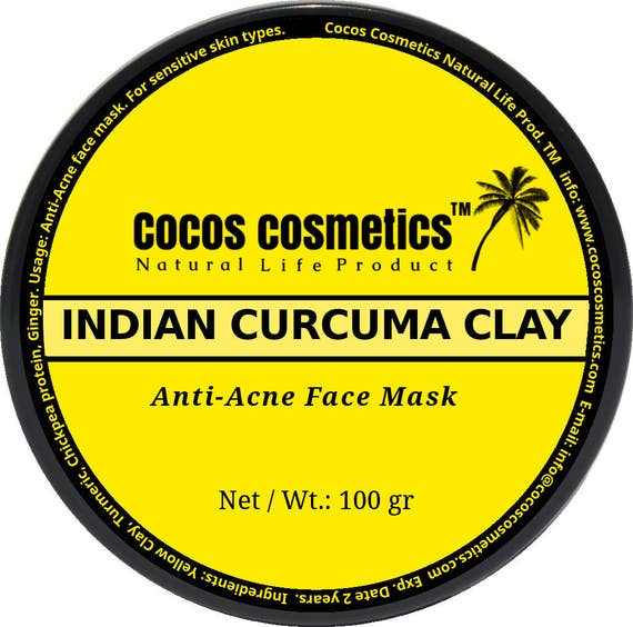 Sale Turmeric face mask - Healing acne face mask with protein - turmeric - ginger and yellow clay