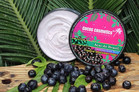 Acai do Brasil Tropical antioxidant face mask 100% Natural organic ingredients free of chemicals and vegan friendly
