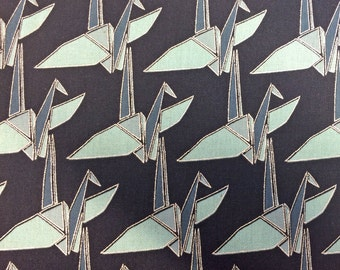 Monochrome Paper Crane Origami Metallic Silver Kokka Japan Cotton Linen Canvas Fabric