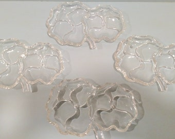 Qty. 4 - Cloverleaf Glass Dishes - Appetizer Dishes