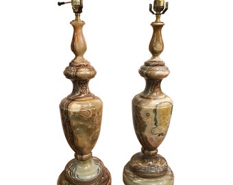 Vintage 1950's Monumental Neoclassical Style Onyx Lamps