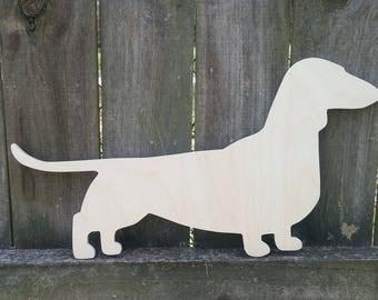 Scroll saw wooden dachshund, doxie  dog, puppy, weiner dog,  paintable woodcut, woodcraft, scroll saw woodwork