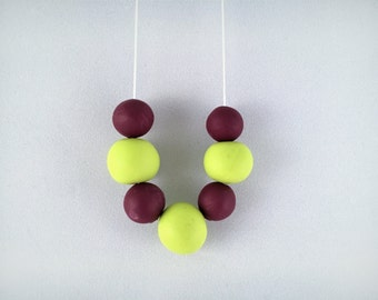 Polymer Clay Beaded Necklace // Lime and Grape