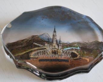 """Vintage 50' """"Lourdes basilica"""" glass paper-weight."""