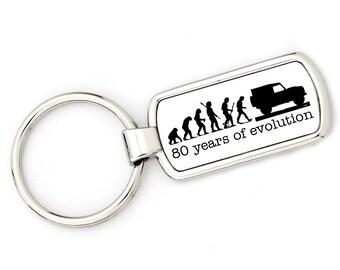 80th BIRTHDAY - DEFENDER Mans Evolution Keyring Ape to Land Rover Defender metal key ring gift present
