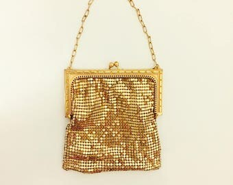 Vintage Gold Metal Mesh Evening Bag with Chain Handle.