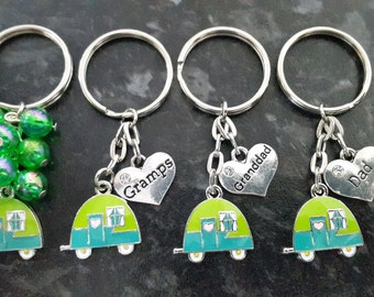 Retro Caravan keyring,  key chain, green caravan beaded keyring, gifts for him, dad, gramps, fathers day, camping