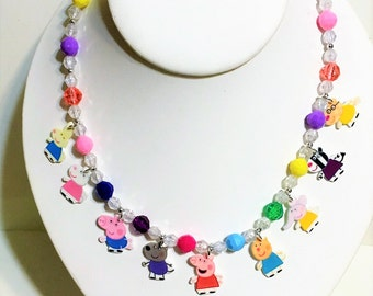 Peppa Pig Charm Necklace, Peppa Pig Necklace, Peppa Pig Charm Bracelet, Peppa Pig Birthday Party Favors, Peppa Pig Jewelry