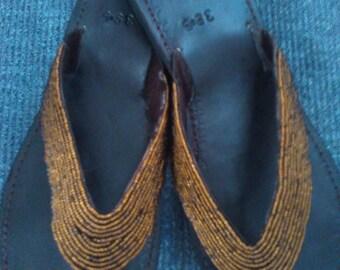 Grande - Handmade Real Leather Beaded Kenyan Sandals, Thongs, Flip Flops, Slippers