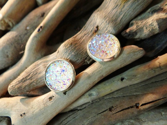 White Opal Faux Druzy Studs Stud Earrings Drusy Geode Iridescent AB Angel Aura Quartz Titanium Crystal Crystals Mermaid Pagan Wiccan Boho