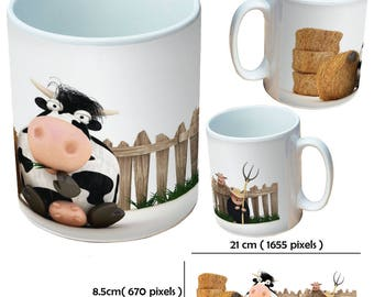 Cow brown farm animal with horns funny cartoon cow with hay bale picture mugs cup as a special custom gift for a friend, family or colleague