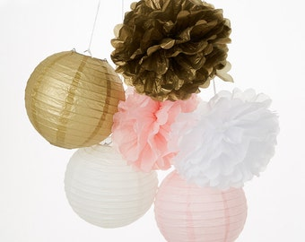 Set of 12 Mixed Gold Pink White Tissue Paper  Pom Poms Flower Hanging Paper Lantern Balls Wedding Birthday Shower Party Decoration