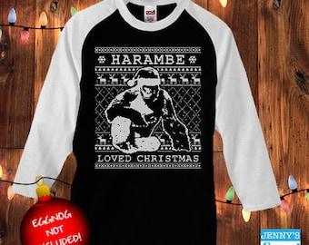 Harambe Loved Christmas | Harambe Sweater | Ugly Christmas Baseball Tee
