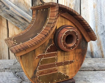 Unique Barnwood Copper Birdhouse Reclaimed Recycled Handmade Vintage Birdhouse Wedding Gift #2503