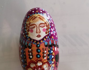 Sleepyhead matryoshka painted Pebble