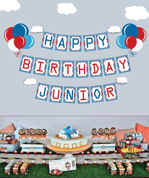Happy Birthday Airplane banner, Airplane Time Files Party Banner Airplane Banner Birthday Banner Boys