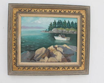 Vintage Landscape  Bay Painting By Berti .