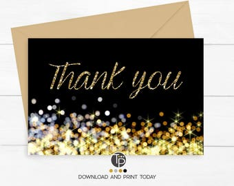GOLD THANK YOU Card, Instant download Thank you Card, Thank you Card, Black and Gold Thank you Card, Gold Confetti Thank you Cards