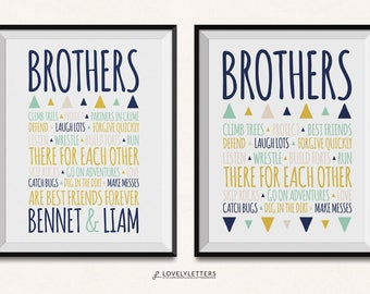 Brothers Print / Brothers Sign / Aztec Print / Brother Print / Brothers Printable / Digital / Brothers Wall Art / Brothers Rules Print