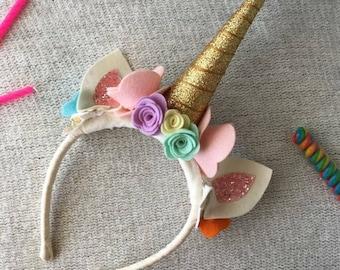 Gold Rainbow Unicorn Headband with Pony Ears, 100% Merino Wool Felt