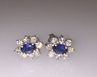 Ceylon Sapphire and Diamond Cluster Earrings in 18K White Gold