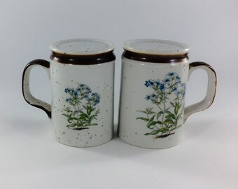 Forget Me Not Floral Salt and Pepper Shakers with Handles