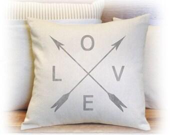 LOVE, Arrow, Pillow Cover