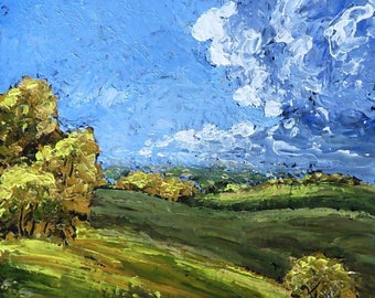 "Spring Hills, 8 X 10"" brilliantly colored acrylic palette knife painting"