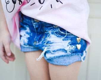 HEAVENLY'S baby girl toddler destroyed distressed deconstructed VALENTINES DAY hearts studded denim jean shorts