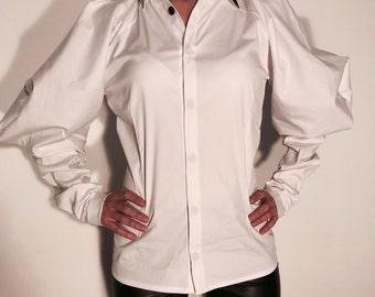 White Casual Shirt, Plus Size Top, Womens Loose Top, Womens Tunic Top, White Office Shirt, Party Shirt,Spring Elegant Shirt, Steampunk Top