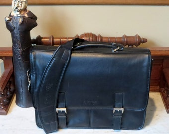 Spring Sale Kenneth Cole Black Leather Briefcase Laptop IPod Carrier- EUC