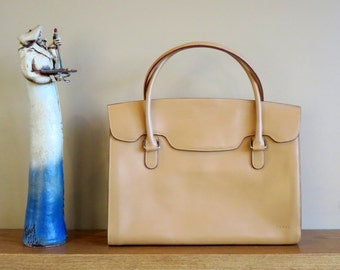 Vintage Lodis Leather Tote In Creamy Blonde Leather With Hoop Handles- EUC