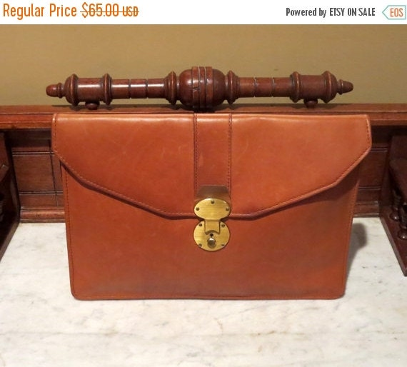 Football Days Sale Vintage Leather Cognac Briefcase Portfolio Envelope Laptop Macbook IPad Sleeve -VGC