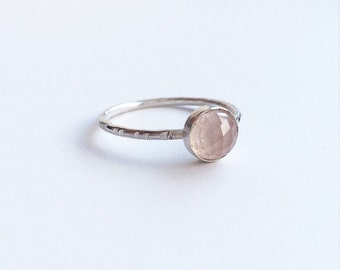 ROSE QUARTZ RING - Sterling Silver Bezel Set 6mm Pink Gemstone Ring  - Solitaire Semiprecious Stacking Ring