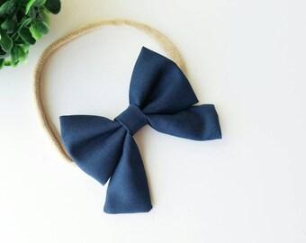 Navy Blue Sailor Bow / Katelyn Bow / Hair Bow / Headband / Baby Headband / Choose Clip or Nylon Headband / Navy Hairbow