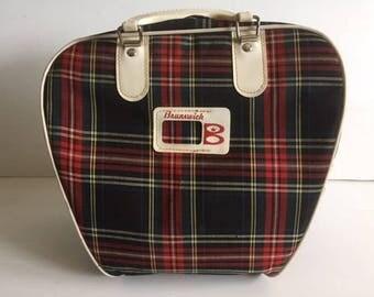 Vintage Brunswick Plaid Bowling Bag