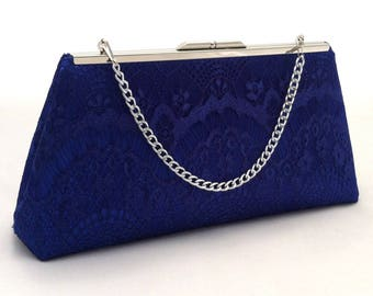 Royal Blue Lace Handbag Clutch Purse ~ Royal Blue Lace Summer Wedding Purse ~ Ready to Ship ~