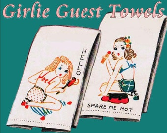 1950s Pin Up Girls Vintage Embroidery Pattern for Guest Towels DIGITAL DOWNLOAD Old Fashioned Girls Appliqued Towels Powder Room Decor
