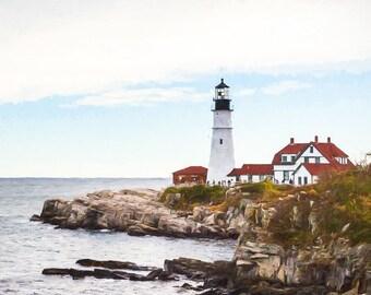 Portland Head Light Photo, Portland Lighthouse Print, Historic Lighthouse, Maine Photography, Maine Lighthouse Photo, Lighthouse Print