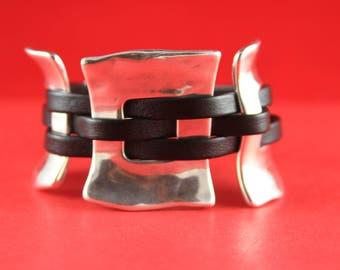 10/5 MADE in EUROPE shiny zamak 3 piece set, Uno de 50 style bracelet set, silver zamak findings (43/38/39/40)