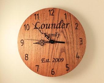 Oak Personalized wedding clock Custom clock Anniversary clock Wood clock Wall clock Wooden wall clock Family name clock Monogram gift Love