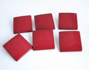 6 dark red buttons in square shape, big shank buttons from 1980s, 34 mm or 28 mm